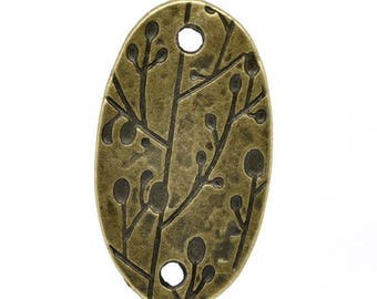 Lot 2 oval connectors etched bronze foliage 38X21mm