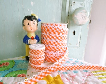 Orange Gingham Double Fold Crochet Edge Bias Tape (No. 88). Orange Gingham Binding.   Halloween Trim.  Orange Fabric.  Fall Trim.
