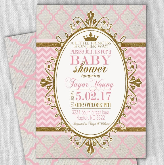 Princess pink gold baby shower invitation fast customized like this item filmwisefo