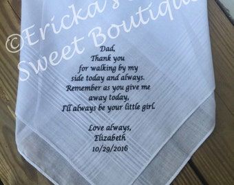Personalized Handkerchief - Father of the bride ****FREE SHIPPING****