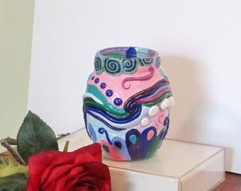 Cool colors flower vase or pencil holder
