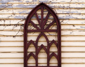 Mini Red Cathedral Window Frame Art |Metal|Rustic|Reclaimed Wood|Wood Sign|Farmhouse|Vintage|Wood|Antique|Shabby Chic|Primitive|Shutters