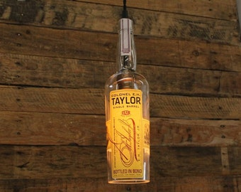 E.H. Taylor Single Barrel Whiskey Pendant Light, Upcycled Industrial Hanging Light, Handmade Light Fixture, Dorm Light, Bar Light, Pendant
