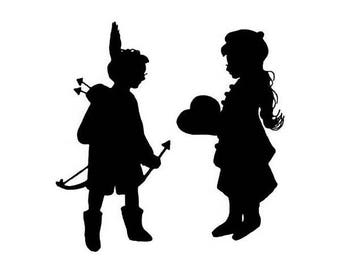 Valentine Silhouette - Cupid and Girl - unmounted rubber stamp, large No.3