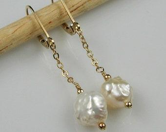 White Rosebud  Pearl Dangle Earrings