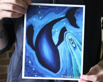 Canoeing Over a Space Whale; Fine Art Print