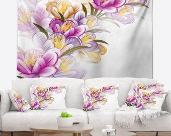 Designart Vector Purple Flowers Floral Wall Tapestry, Wall Art Fit for Wall Hanging, Dorm, Home Decor