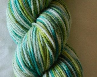 Hand dyed sock yarn 100g fine merino/nylon in Enchanted Glade colourway