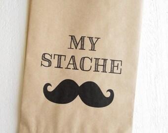 "My Stache Mustache Favor Bags Treat Birthday Baby Shower 5""x7.5"""
