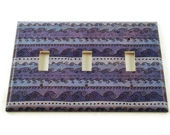 Light Switch Covers Switchplate Wall Decor  Triple Switch Plate in  Funky Blue Waves   (093T)