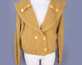 1950's Vintage Mohair Sweater, Gold Long Sleeve Mid Century Wool Knit Womens Sweater Jacket Cardigan, Double Breasted - Medium