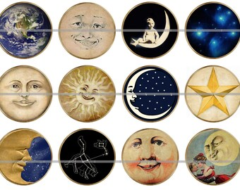 """1"""" Inch Vintage Celestial Flat Back Buttons Pins or Magnets 12 Ct."""