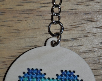Cross Stitch, Heart Keychain, Blue Colors, Gifts