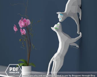 Papercraft Cats, Couple of Cats (2 PDF patterns), Paper Sculptures DIY, Low Polygon, Lowpoly Kittens, 3D Papercraft, First Anniversary Gift