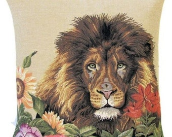 Lion Pillow Cover - Lion Gift - Wildlife Decor - 18x18 Belgian Tapestry Pillow Case - Lions and Flowers Throw Pillow