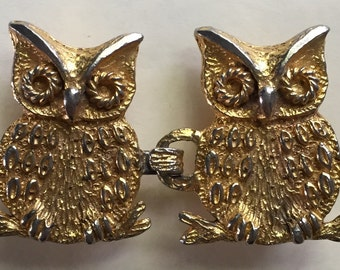 """Belt Buckles, Owl Buckles, Vintage Buckles, Gold Tone, Two Piece Set, Designer Signed, Mimi di N, Dated 1972, 3"""" 1/4"""" Wide x 1 7/8"""" Long"""