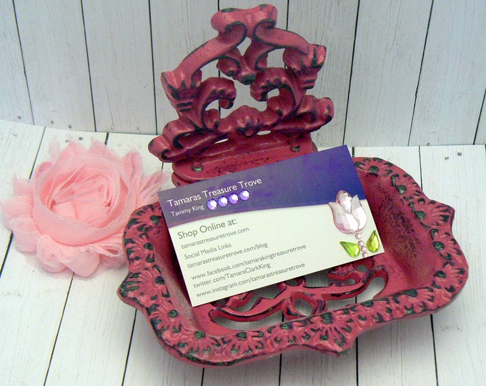 Victorian Business Card Holder Hot Pink Shabby Chic Desk Office Trinket Holder
