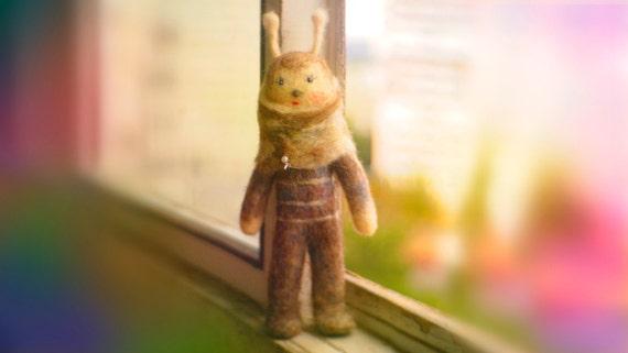 Needle felt doll, OOAK Art, kawaii alien bunny, organic wool soft toy, cute gift, interior collectible, unique, primitive, eco, room decor.