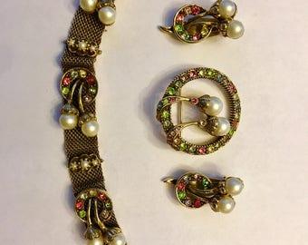 RESERVED Judy Lee Parue Brooch Earrings Bracelet