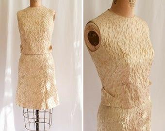 1960s Dress | Cecilia | Vintage 60's Two Piece Dress Ivory Gold Silver Jacquard Metallic Cocktail Dress Sixties Party Dress Bonwit Teller S