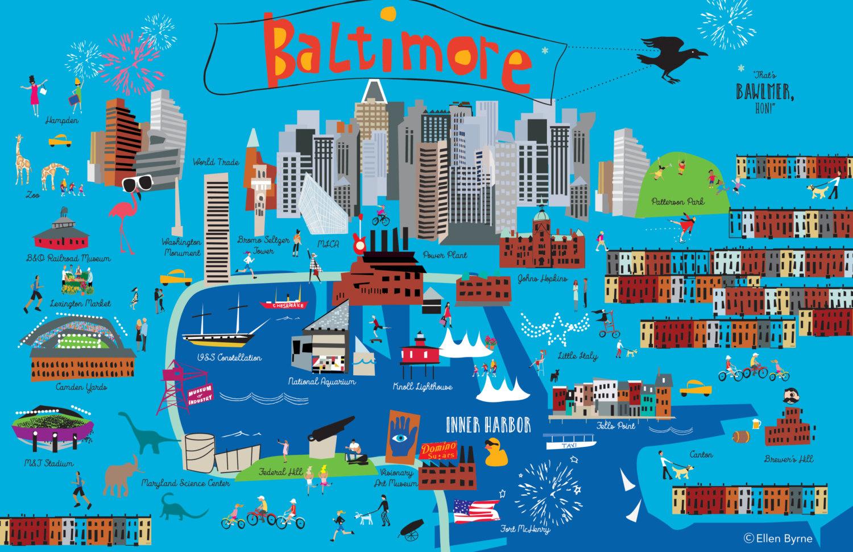 Original Funky Baltimore Poster Map print full of fun and