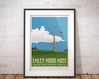 Emley Moor Mast, Kirklees, West Yorkshire, England, UK - signed travel poster print
