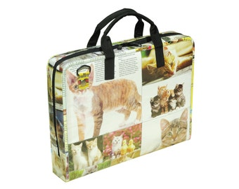 upcycled laptop case - womens laptop bag - laptop briefcase - padded laptop bag - recycled laptop bag - cat lover gift for mom recycled bag