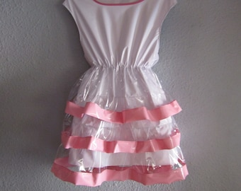 PVC Sissy Dress, Pink, White & Transparent PVC Pull-on RA-Ra Dress