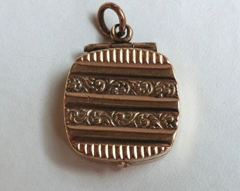 Antique GF Locket Alternating Chased Designs Great Fob Too Edwardian Era