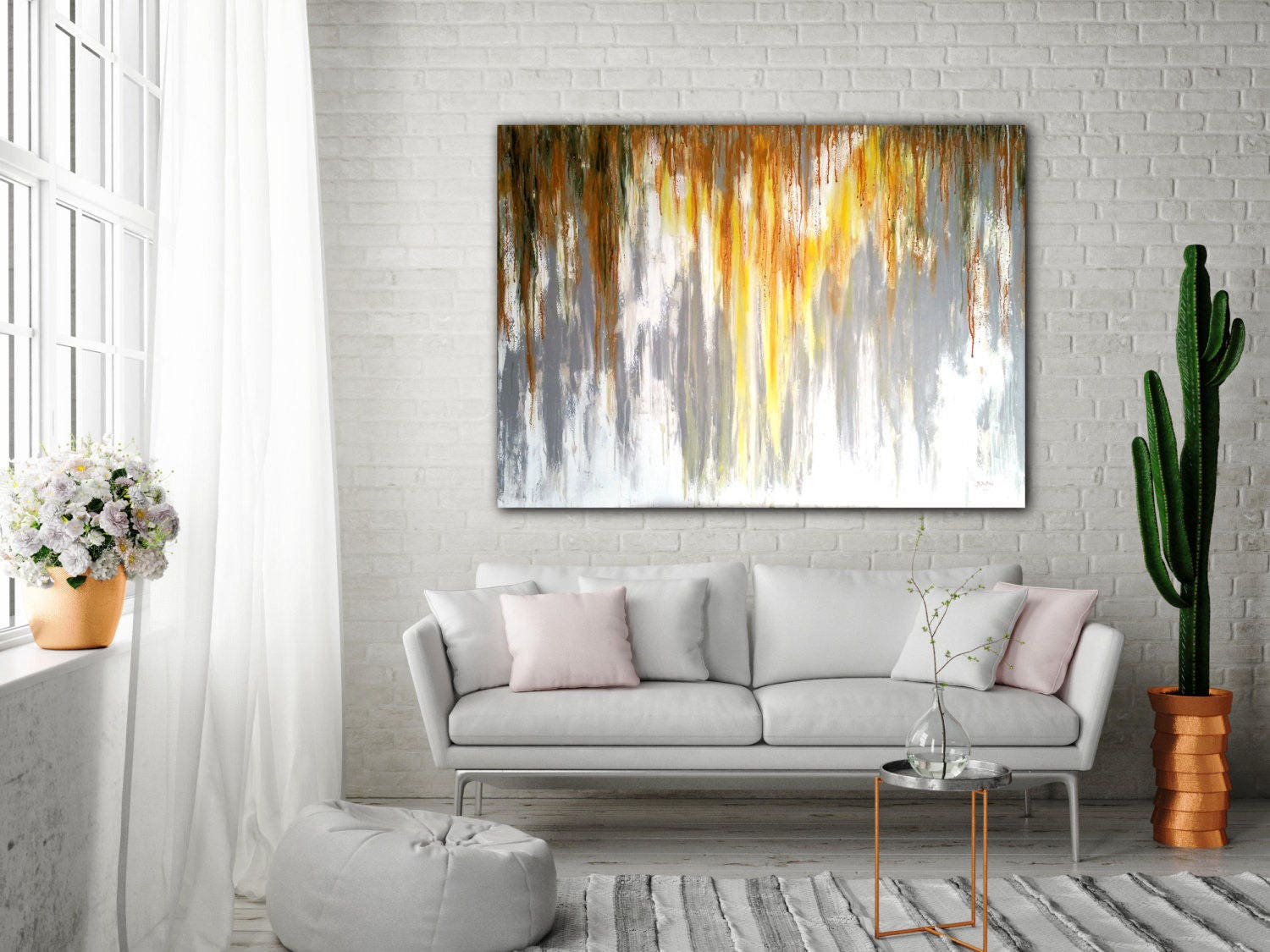 ABSTRACT PAINTING Large Canvas Art Unstretched Custom Painting Gray ...