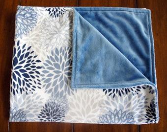 Minky Baby Blanket -Blue Premier Blooms Cuddle - Blue Cuddle3 Smooth