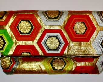 Small Gold Hexagons Two-way Fold Over Obi Silk Clutch Purse