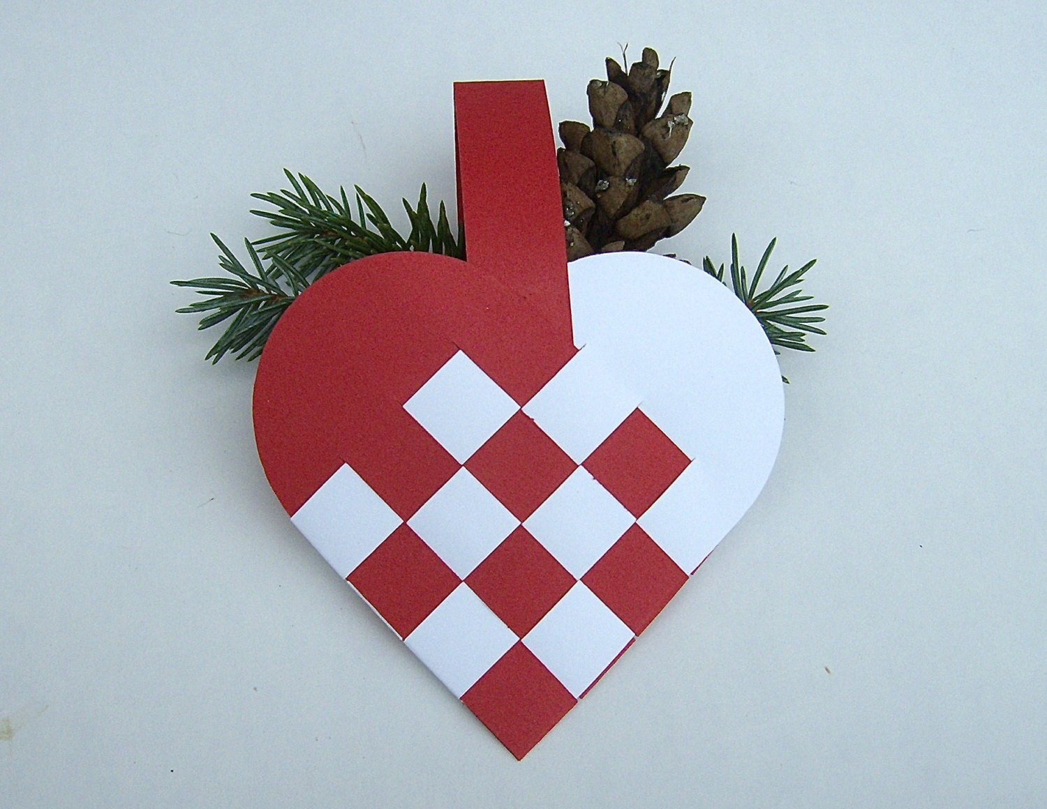 danish woven heart basket decoration set of 4 christmas