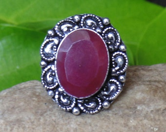 Designer Ruby Ring - Corundum Ruby Ring - Handcrafted Ring - Sterling Silver Ring - Oval Cut Ring - Ruby Fashion Ring - Bezel Set - AJR-0156