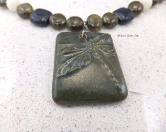 Dark Dragon Necklace, Ceramic Pendant, Tourmaline, Moonstone, Durmortierite, Gunmetal