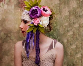 Rustic woodland wedding crown. Bohemian flower wedding. Sugar plum fairy crown. One size woman/child.