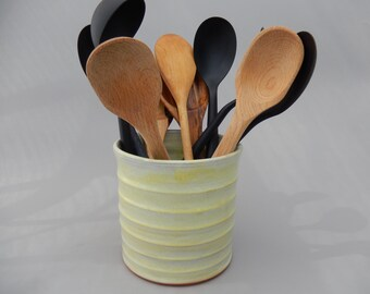 Ceramic Cooking Utensil Holder, Handmade Yellow Pottery Utensil Crock