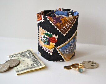 "Money Cuff Wrist Wallet - ""Secret Stash""- -Postage Travel Stamp-- hide your cash, key, jewels,  health info, in a hidden inside zipper"