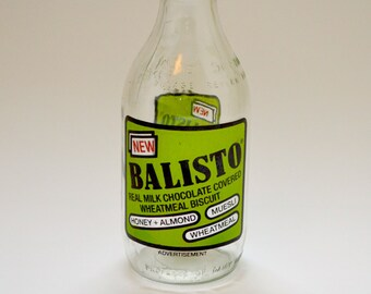 Vintage 1980's Milk Bottle Advertising Balisto Chocolate Biscuits