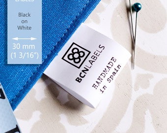 150 pcs White Custom Printed 30 mm wide Polyamide Care Labels / Sew in Textile Labels