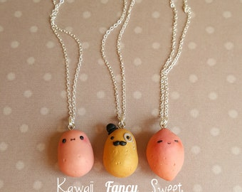 Kawaii and fancy potato pendant handmade charms miniature food jewelry potato necklace mustache pendant kawaii potato best friend gift