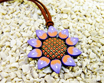Polymer clay pendant: Sunflower pendant, Floral pendant, Polymer clay jewelry, Orange and purple, Gift for her, Gift woman