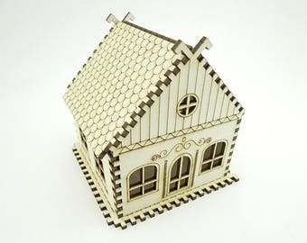 Wooden Miniature House for Decoration - Laser Cut - Miniature House - Doll House - Christmas House