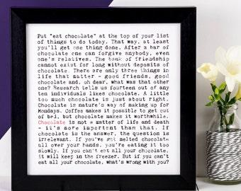 Chocolate Print; Love Chocolate Print; Chocolate Lover Gift; Gift For Mum; Gift For Friend; AP124
