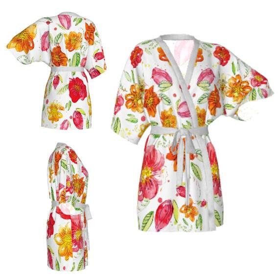 Kimono-Bademantel floral Gewand Aquarell wilde Blume robe