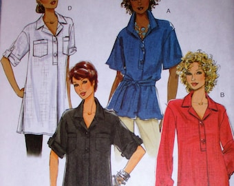 Butterick pattern, B5218, misses top, belt and tunic, loose fitting pullover tops, collar variations, droped shoulders, sz: 8, 10, 12, 14