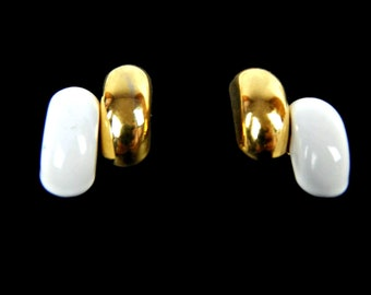 Mod Asymmetrical Post Earrings White and Gold Tone Signed Monet