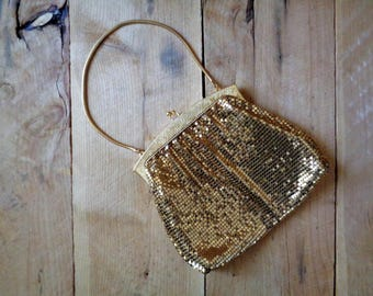 Whiting And Davis Gold Mesh Evening Bag Vintage Purse