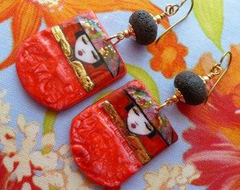 Gorgeous Geisha, Bold Boho Earrings, Funky Jewelry, Japanese Style, GlassNatalyaDarlin, NaelAtelier, Northernblooms