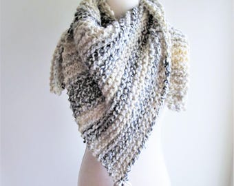 Moonlight Anna Knit Triangle Wrap - Limited Edition, Knit Triangle Scarf, Knit Shawl, Wool Triangle Wrap